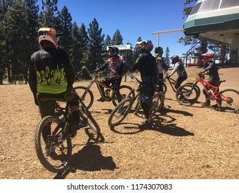 Big Bear, CA, USA - June 17, 2018: Mountain biking is a very popular activity to do during summer time at Snow Summit, Big Bear Mountain.