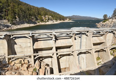 BIG BEAR, CALIFORNIA - SEPTEMBER 25, 2016: Bear Valley Dam. The dam built in 1912 created Big Bear Lake, a recreation area and important water source for San Bernardino.
