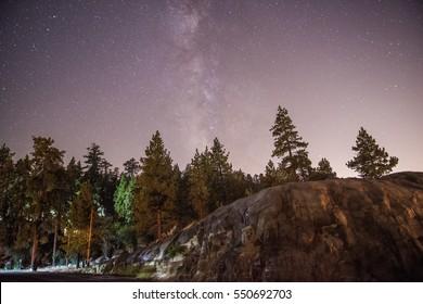 Big Bear Lake, California at Night, Milky Way Galaxy