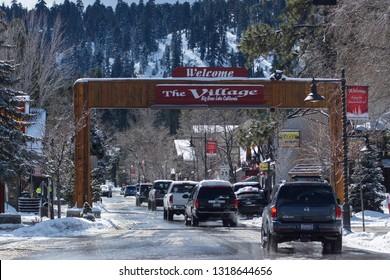 Big Bear Lake, Claifornia - February 20, 2019; Welcome to Big Bear Village SIgn at Pine Knot Blvd. Big Bear Lake California