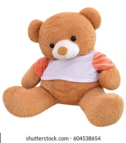 Big Bear soft toy isolated on white background with clipping path.
