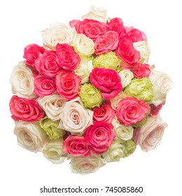 big beautiful bright floral bouquet of white red pink roses on a white izolovannom background, top view