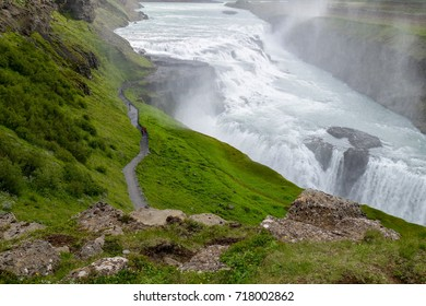 Big, beautiful and famous powerful Gullfoss waterfall. Popular tourist attraction. Iceland