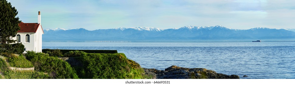 Big and Beautiful Mount Olympic national park panorama view from Victoria, BC, Canada