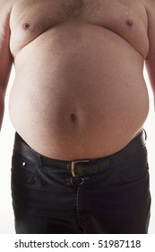 big belly of a fat man isolated on white