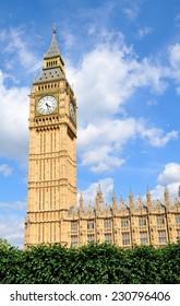Big Ben against blue sky in London, UK