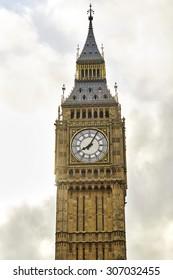 Big Ben against cloudy sky, London, UK
