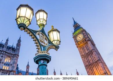 Big Ben with antique street lamp