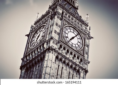 Big Ben, the bell of the clock close up. The famous icon of London, England, the UK. Black and white vintage style