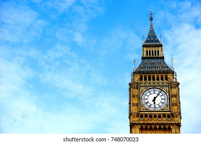 The Big Ben with blue sky, House of Parliament, London