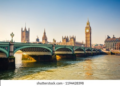 Big Ben and bridge in London at autumn