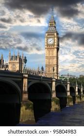 Big Ben with bridge in London, UK