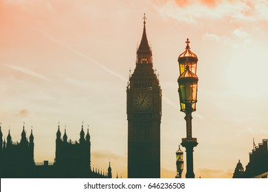 Big Ben clock on Westminster Palace with Sunset Sky on the background Lodon, England