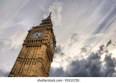 Big Ben clock tower against stormy sky with empty space for text, London, UK