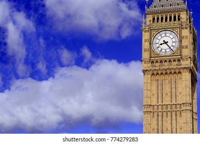 Big Ben clock tower or Elizabeth Tower near Westminster Palace and Houses of Parliament in London England