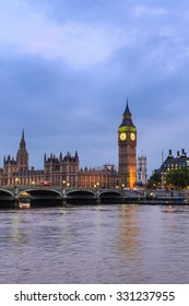 Big Ben Clock Tower and House of Parliament, London, England, UK, in the evening