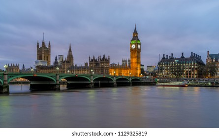 Big Ben Clock Tower and the Houses of Parliament with Westminster Bridge and the Thames River
