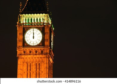 Big Ben clock tower of the Houses Of Parliament in Westminster, London, England, UK  at midnight on New Years Eve