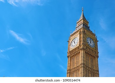 Big Ben Clock Tower in London, UK, on a bright day. Text space on blue sky background