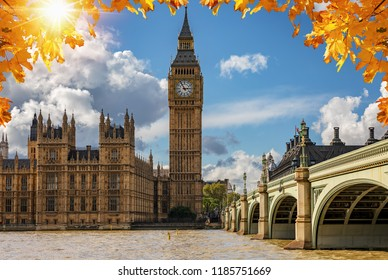 The Big Ben clocktower and Westminster Palace at the Thames river in London on a sunny autumn day, United Kingdom