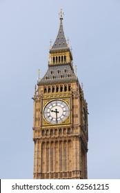 Big Ben, Close up of the Gothic Clock Face. London UK.