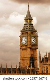 Big Ben, closed up, over dramatic cloudy sky, seen from Westminster Bridge