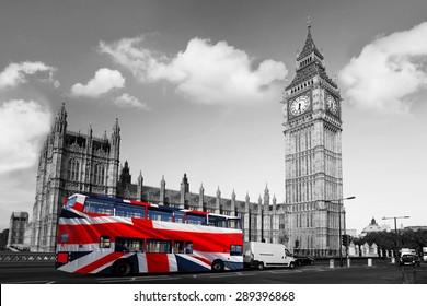 Big Ben with double decker bus in London, England, UK