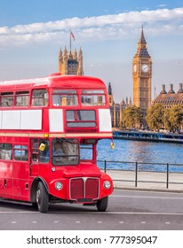 Big Ben with double decker bus in London, England, UK