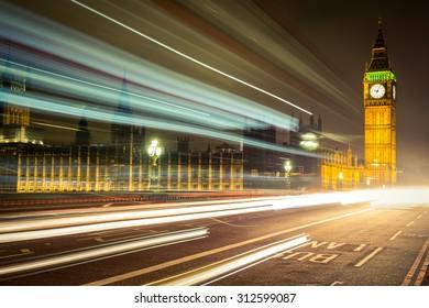 Big Ben during the dark cloudy night, London.