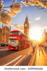 Big Ben during spring time with bus in London, England