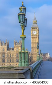 Big Ben, Elizabeth Tower with Street Lights in foreground from across Westminster Bridge with focus on Big Ben with low DOF. Westminster, London, England, UK