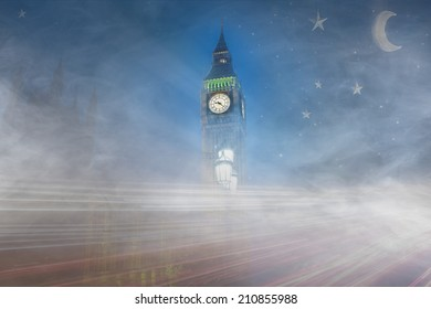 Big Ben in a fantasy and foggy days