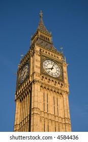 Big Ben home, Westminster Clock Tower, in evening sunlight