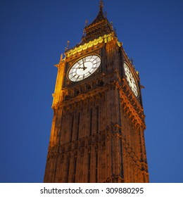 Big Ben at the Houses of Parliament aka Westminster Palace at night in London, UK