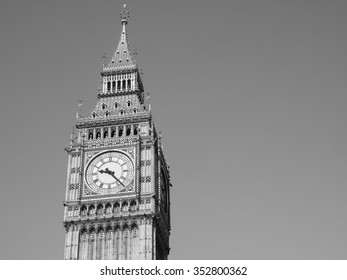 Big Ben at the Houses of Parliament aka Westminster Palace in London, UK in black and white