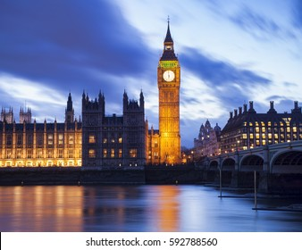 Big Ben and Houses of Parliament at a beautiful sunset landscape, London City. United Kingdom