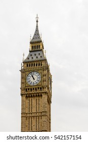 Big Ben, Houses of Parliament - isolated over white. Big Ben Panorama - Palace of Westminster, London
