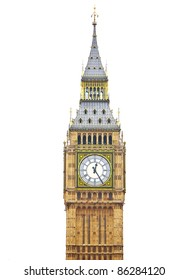 Big Ben, Houses of Parliament - isolated over white