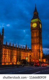 Big Ben and the Houses of Parliament in London England at night.