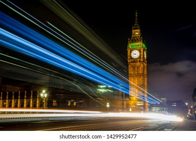 Big Ben and Houses of Parliament, London, UK Big Ban Elizabeth tower clock face, Palace of Westminster, London, United Kingdom light long exposure