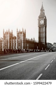 Big Ben and the houses of Parliament in London England with retro 70s filter