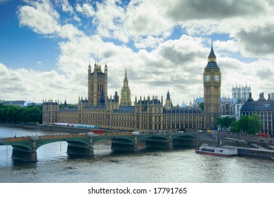 Big Ben and the Houses of Parliament, London. View includes River Thames and Westminster Abbey behind.
