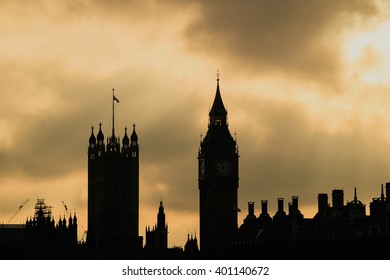Big Ben and Houses of Parliament in London UK at sunset