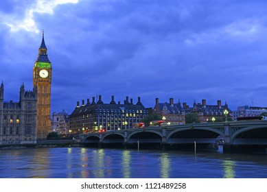 Big Ben and Houses of Parliament at night - London, United Kingdom, UK