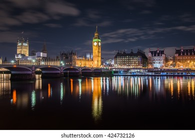 Big Ben and Houses of Parliament reflecting on the Thames, London, UK