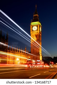 Big Ben and the Houses of Parliament with Traffic Light Trail