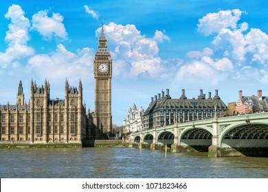 Big Ben, Houses of Parliament und Westminster Bridge, London, Vereinigtes Königreich.