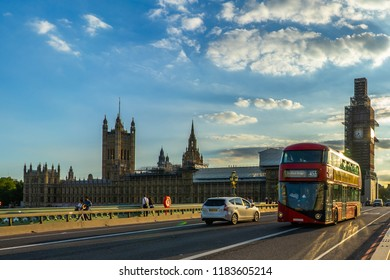 Big Ben, Houses of Parliament and Westminster bridge in London, UK.
