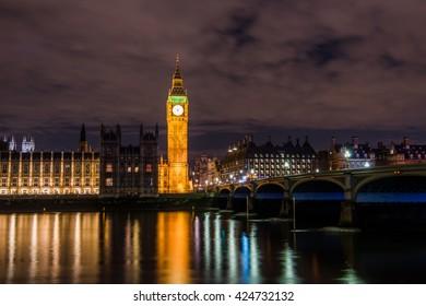 Big Ben, Houses of Parliament and Westminster Bridge, London, UK