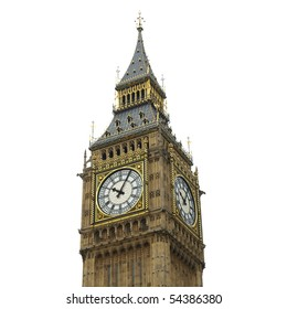 Big Ben, Houses of Parliament, Westminster Palace, London gothic architecture - isolated over white background